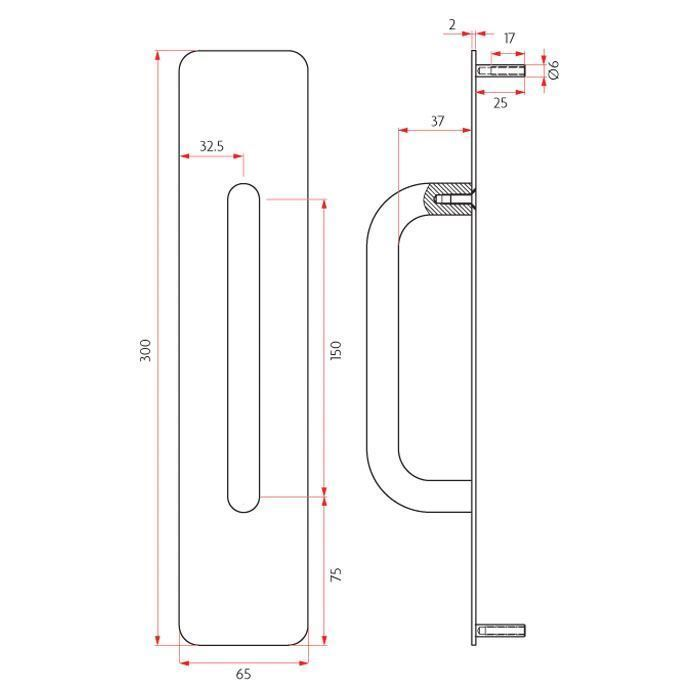 Picture of Sabre Pull Plate Concealed Fix - 65mm